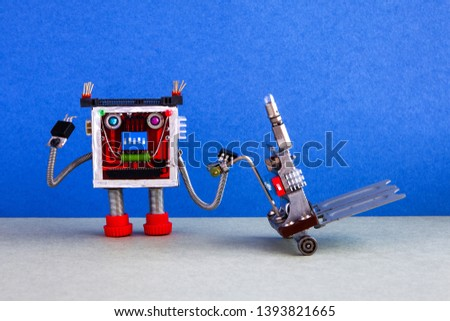 Robot loader and delivery service automation logistic concept. Friendly robotic character moving pushcart mechanism. Blue wall, gray floor background
