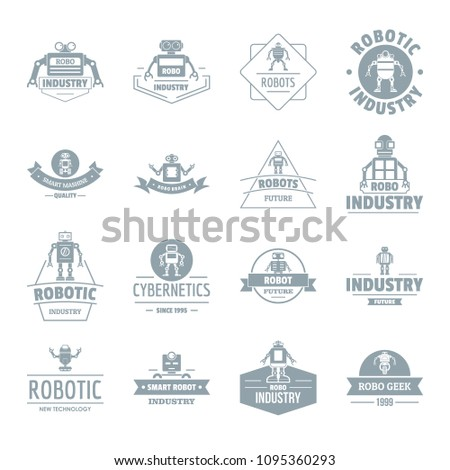 Robot logo icons set. Simple illustration of 16 robot logo icons for web