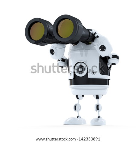 Robot looking through binoculars. Searching concept. Isolated