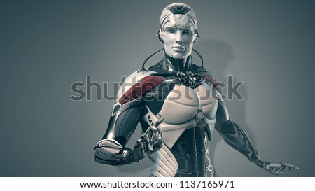 Robot man portrait, 3d realistic cyborg, bluish background