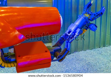 Robot manipulator for underwater work. The submersible with a robotic arm. Robot for work under water. A computer program controls the production process. Production automation. #1536580904