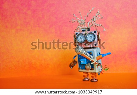 Robot microphone singing song. Music lecture performance poster design. Smiley face cyborg toy, red orange bright background, copy space