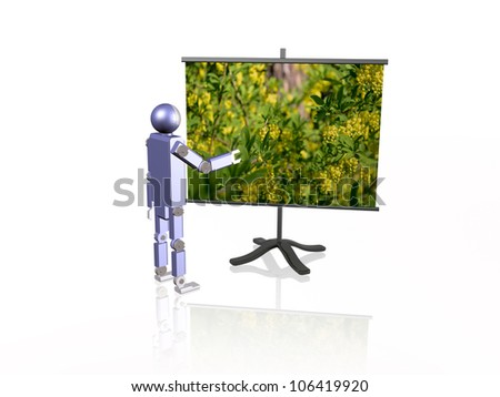 Robot near the screen, white background.