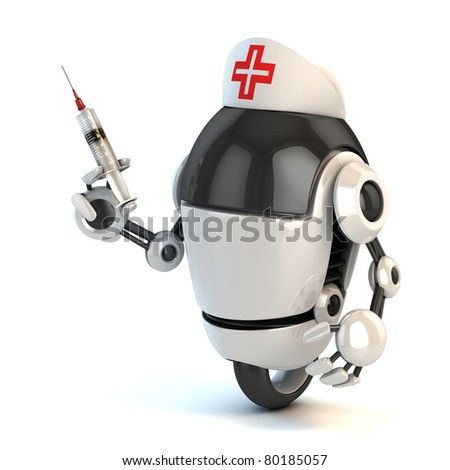 robot nurse holding the syringe 3d illustration
