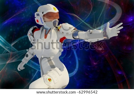 Robot  on a  abstract background - stock photo
