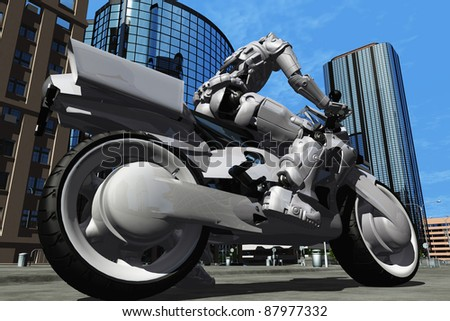 Robot on a motorcycle in the city.