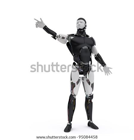 Robot points his finger