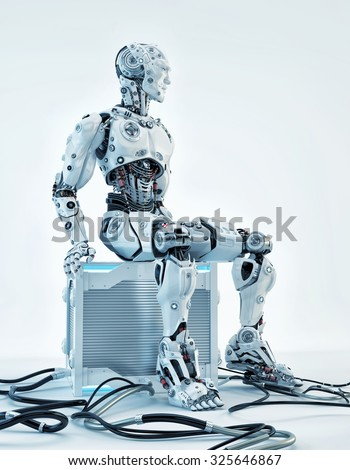 Robot resting on futuristic computer box after hard work as system administrator