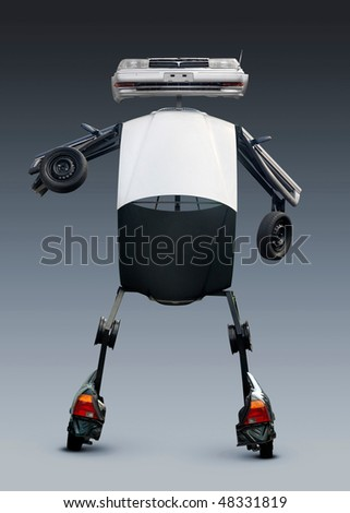 Robot sculpture made from car parts. Isolated with clipping path