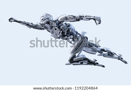 Stock Photo Robot superhero flying. Android, humanoid or cyborg power artificial intelligence technology concept. Clipping path included. 3D illustration.