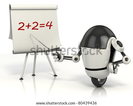 robot teaching math 3d illustration