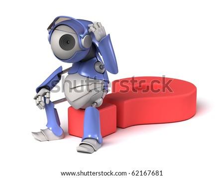 Robot thinker - stock photo