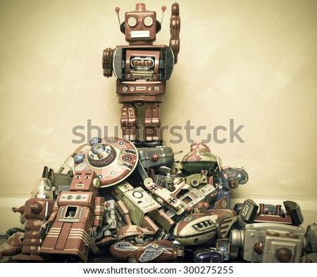 robot toy stands on the...