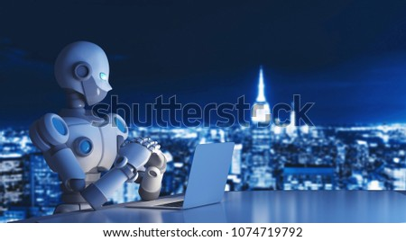 Robot using a laptop computer in city, artificial intelligence in futuristic technology concept, 3d illustration