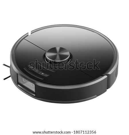 Robot Vacuum Isolated on White. Top Side View Modern Autonomous Smart Robotic Vacuum Cleaner or Roomba. Self-Drive Cleaning Robot. Floor Cleaning System. Small Household & Domestic Appliances