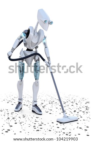 Robot vacuuming up small bits of metal debris from the floor.
