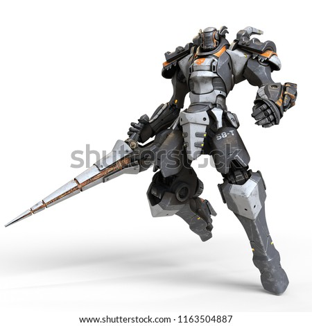Stock Photo Robot warrior with a large lance in one hand. A science-fiction mech in a jumping pose. Futuristic robot with white and gray color metal. Mech Battle. Orange paint. 3D rendering on a white background.