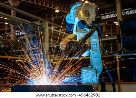Robot welding test run.