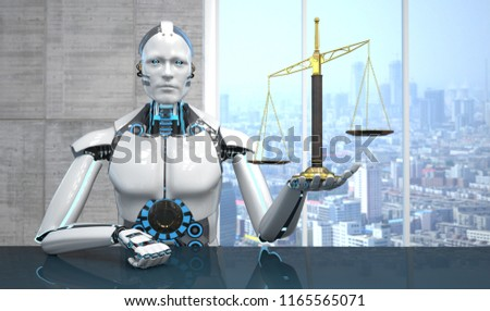 Robot with a beam balance in the hand.