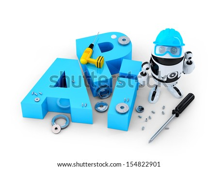 Robot with application programming interface sign. Technology concept. Isolated on white background