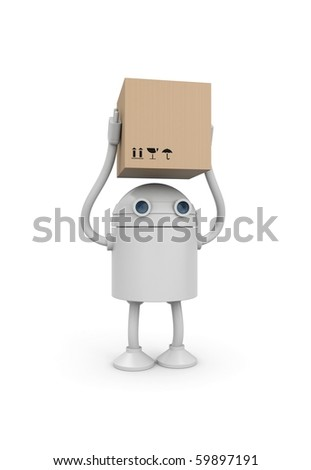 Robot with cardboard box