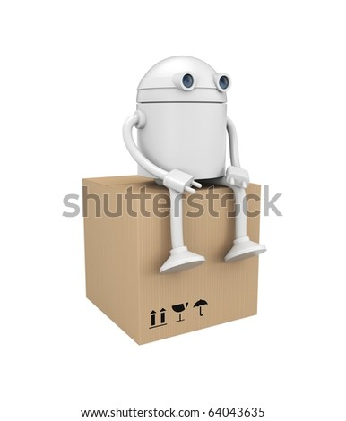 Robot with cardboard box. Image contain clipping path