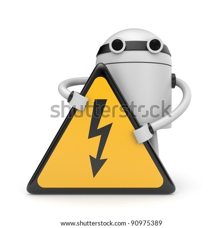Robot with danger sign
