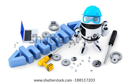 Robot with HTML sign. Technology concept. Isolated on white background.