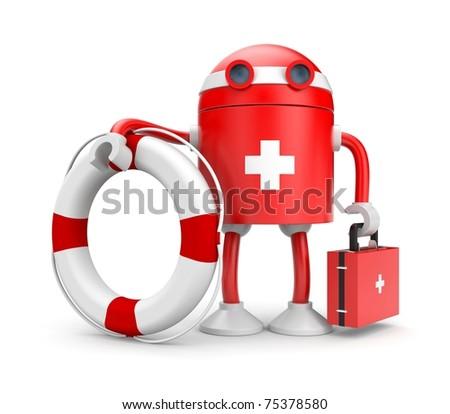 Robot with lifebuoy - stock photo