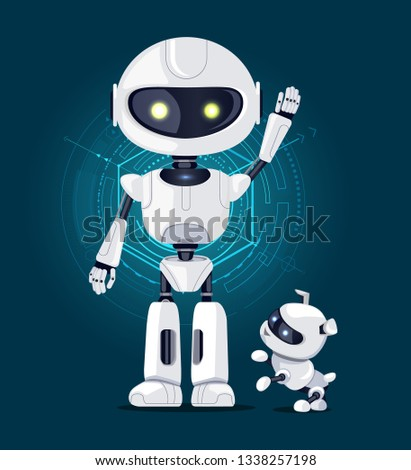 Robot with raised hand and white eyes, and robotic dog ready to play with master, interface with lines on background isolated on raster illustration