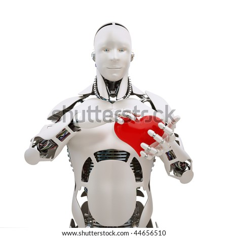 Robot with red heart in the hands