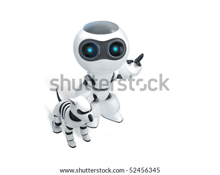 robot with robot dog look up - stock photo