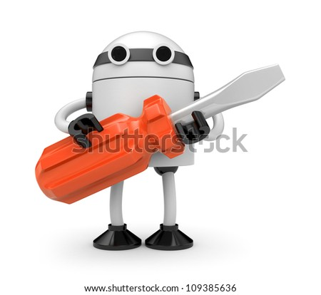 Robot with screwdriver