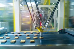 robot with vacuum suckers with conveyor in Production of cookies in a manufacture factory for the food industry
