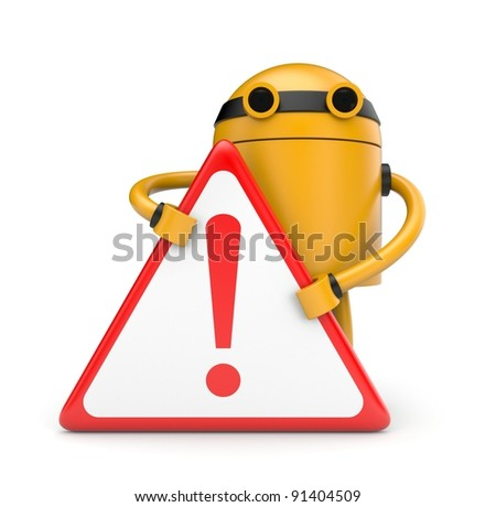 Robot with Warning sign - stock photo