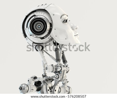 Stock Photo Robot woman in profile 3d render