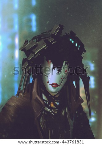 Stock Photo robot woman with artificial face,futuristic concept,illustration painting