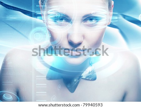 Robot woman with lighting eyes and virtual hologram interfase
