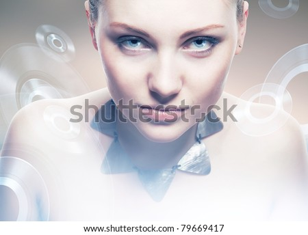 Robot woman with predatory eyes