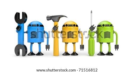 Robot workers. New technology metaphor