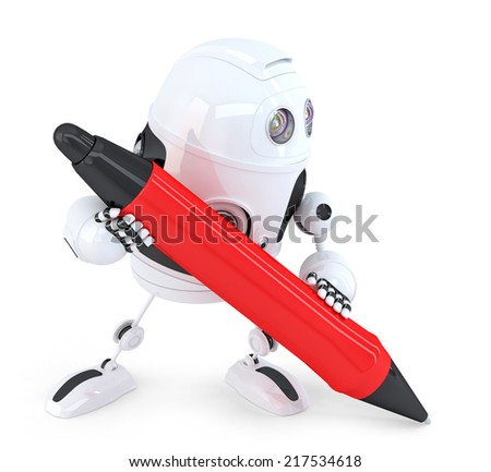 Robot writing with red pen. Isolated. Contains clipping path
