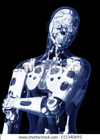 Robot X-ray: X-ray of a male humanoid skeleton under human skin. Isolated on a black background