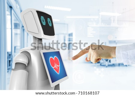 Robotic advisor service technology in healthcare smart hospital , artificial intelligence concept. Doctor finger point to 3d rendering robot and graphics.Blue tone image. #710168107