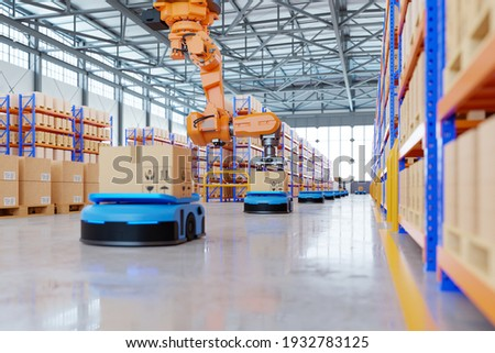 Robotic arm for packing with producing and maintaining logistics systems using Automated Guided Vehicle (AGV),3d rendering Foto stock ©