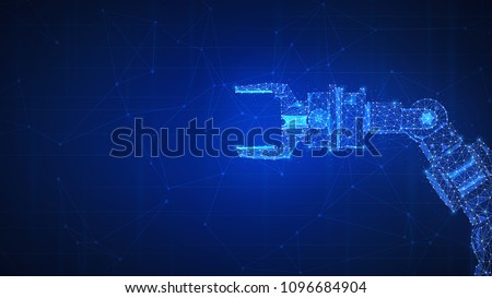Robotic arm futuristic hud background. Polygon robo hand as a concept of automatization, machinery, robotic technology, industrial revolution and artificial intelligence. Low poly design.