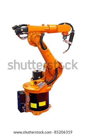 Robotic arm welder isolated included clipping path