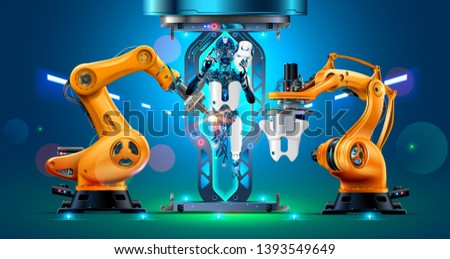 Robotic Arms Assemble the Cyborg or Humanoid Robot on Factory. Engineering Laboratory Productions Constructions Body, Head, Hands of the Artificial Intelligence. 3d rendering Automation Manufacturi