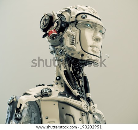 Robotic character with medic aim Futuristic medical worker