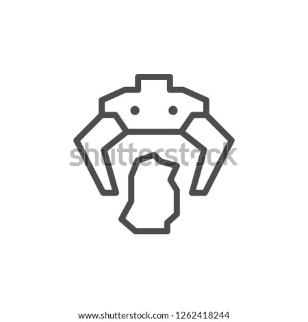 Robotic claw line icon isolated on white