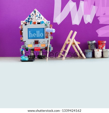 Robotic decorator with paint roller and buckets. Purple colored room wall redecoration. Creative design robot computer painter at work. gray floor copy space